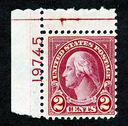 US #634a PLATE #19745 1928 2c TYPE II ROTARY ISSUE MINT NH