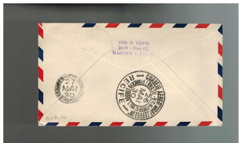 1930 Brazil Graf Zeppelin cover Private Condor Stamp to USA
