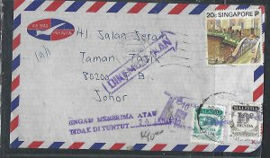 MALAYSIA COVER (PP0811B) 1993 INCOMING FROM SINGAPORE POSTAGE DUE 10C+50C RETURN