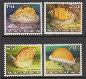 Papua New Guinea MNH 636-9 Conch Shells 1986