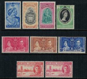 St. Kitts-Nevis #76-8,91-3,105-6,19*  CV $2.95