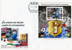 TOGO 2020 VACCINE AGAINST THE VIRUS SOUVENIR SHEET FIRST DAY COVER