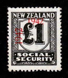 NEW ZEALAND £1 SOCIAL SECURITY STAMP RED OVERPRINT 1942