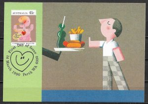 1990 Australia 1172 Community Health: Eat Right Maximum Card