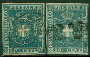 EDW1949SELL : ITALIAN STATES Tuscany 1860 Sc #20, 20b Nice shades Used Cat $500