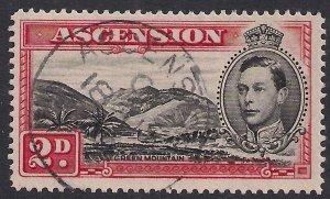 Ascension Island 1938 - 53 KGV1 2d Black & Scarlet used SG 41c ( A893 )