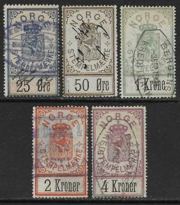 Norway 1886 Arms Documentary Revenues Wmk Crown Short Set F/VF Used #1-5