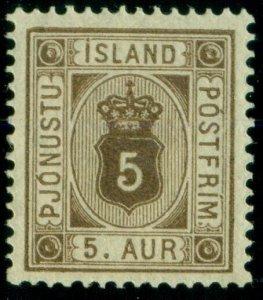 ICELAND #O5 (Tj5) 5aur brown, og, NH, XF