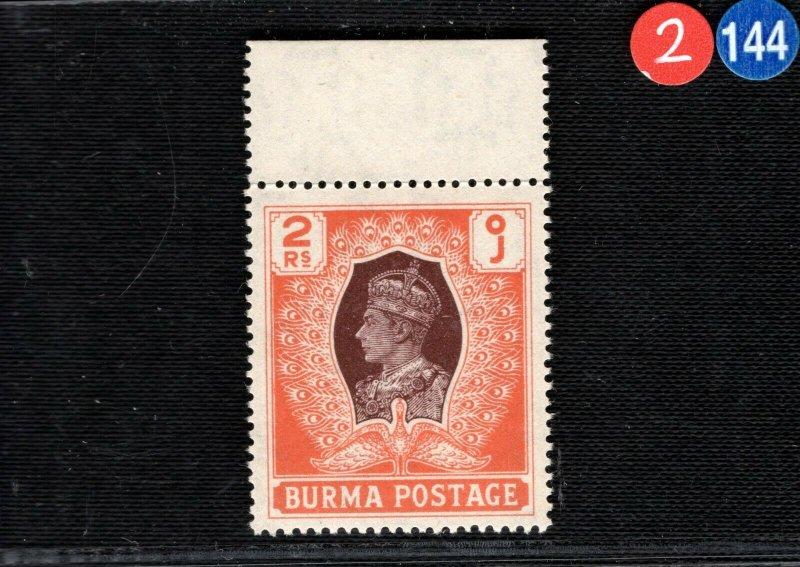 BURMA KGVI Stamp SG.61 2r High Value (1946) PEACOCK Superb Mint MNH UM 2RBLUE144