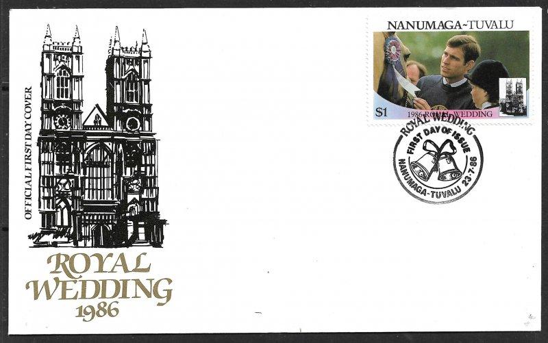 TUVALU NANUMAGA 1986 $1 Prince Andrew Royal Wedding Sc 72b FDC