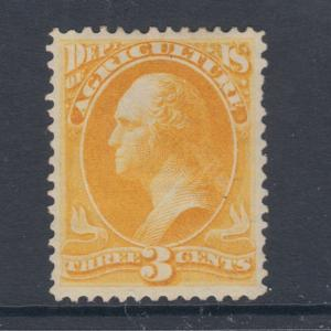 US Sc O3 MLH. 1873 3c yellow Agriculture Department Official