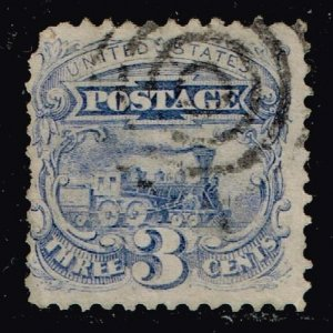 US STAMP #125  1875 3c Locomotive, blue  WITHOUT GRILL USED  $27,500