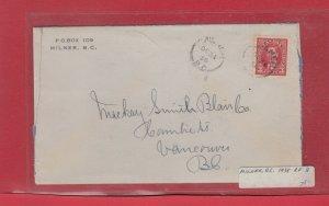 MILNER B.C. 1938 Mufti issue Canada cover split ring