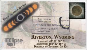 17-219, 2017, Total Solar Eclipse, Riverton WY, Event Cover, Pictorial Cancel,
