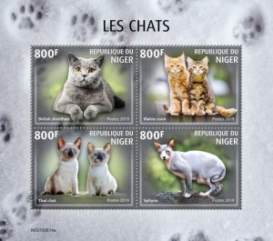 NIGER - 2019 - Cats - Perf 4v Sheet - MNH