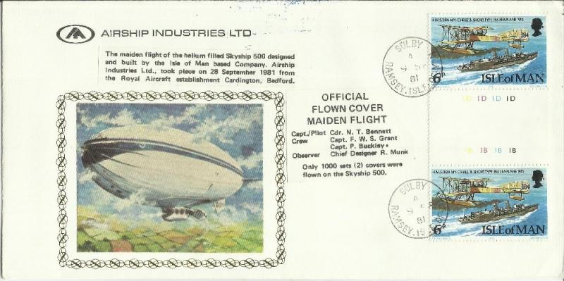 ISLE OF MAN - ISOLA GREAT BRITAIN 1981 AIRSHIP Official flown cover maiden fl...
