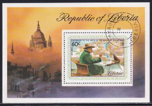 Liberia 1975 Sc C205 Churchill at Easel Painting Landscape Art Stamp SS CTO NH