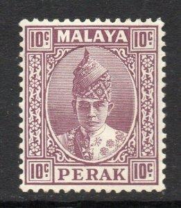 Malaya Perak 1938 KGVI 10c dull purple SG 112 mint.