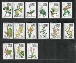 Turks+Caicos Sc#790-804 M/NH/VF, Missing 805, Flowers, Cv. $37.50
