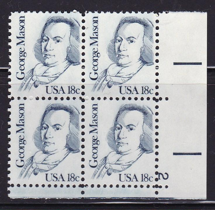 United States 1980 Great Americans 18c George Means Plate Number Block VF/NH