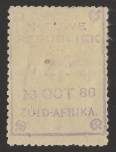 TRANSVAAL - NEW REPUBLIC 1886 (13 Oct) 2s violet on yellow paper.