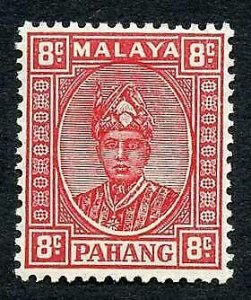 Pahang SG36 8c Scarlet Thin Striated paper M/M Cat 16 pounds