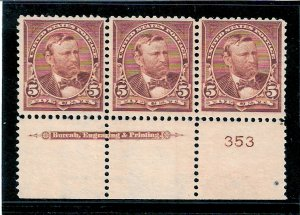 270 Mint,OG,NH... Imprint/Plate# strip of 3... SCV $375.00