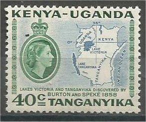 KENYA, UGANDA, TANZANIA, 1958, MNH 20c, Map, Scott 118