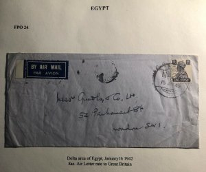 1942 Delta Area Egypt Indian Base Censored Airmail Cover To London England