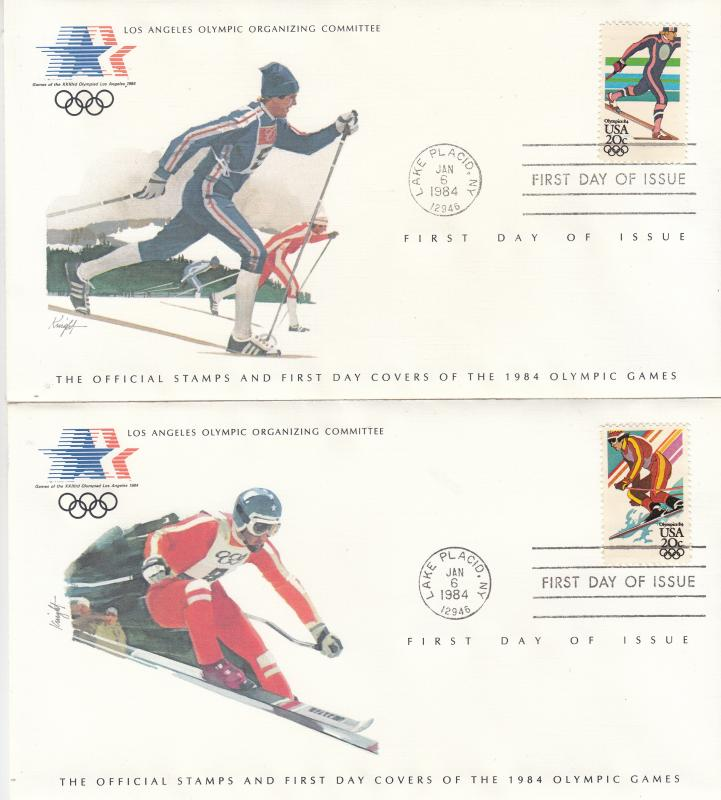 ​  USA - 1984 Olympic games , FDC skiing and downhill skiing (1322)