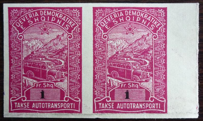 ALBANIA-REVENUE STAMPS-PROOFS (PAIR) RR! albanien italy usa russia J4