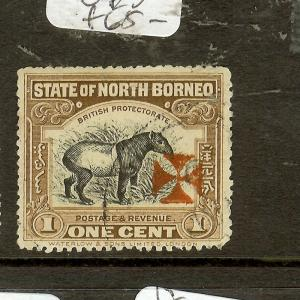 NORTH BORNEO  (P2907B) RED CROSS 1C TAPIR SG202   VFU