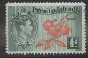 Pitcairn Is. - Scott 1 -Definitives - 1940 - MVLH - Blue Grn & Org- 1/2d Stamp1