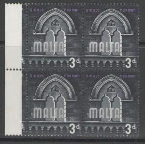 MALTA SG335a 1965 3d DEFINITIVE WITH GOLD(WINDOWS) OMITTED MNH BLOCK OF 4