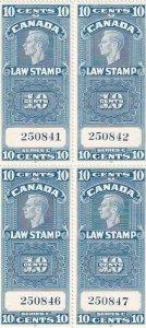 Canada: Law Stamp Plate Blk/4, Van Damm #FSC21, MNH (42861)
