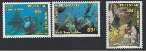 French Polynesia #578-80 MNH, set, Christmas 1991, issued 1991