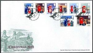 HERRICKSTAMP GREAT BRITAIN Sc.# 3793-3800 Christmas 2018 FDC Edinburgh