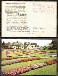 4537 - ST CATHARINES 1981 Meter Cancel on ADVERTISING Postcard to Wahnapitae