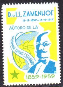 ESPERANTO POSTER STAMP D.TO. L.L ZAMENHOF AUTORO DE ESPERANTO 1859-1959