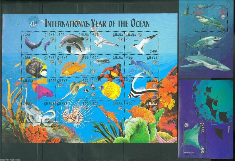 GHANA  INT'L YEAR OF THE OCEAN  SC#2059/61 MINT NEVER HINGED AS SHOWN