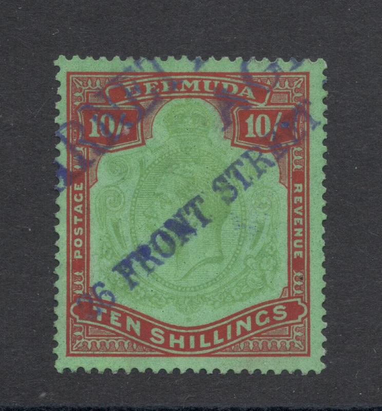 Bermuda #53a - 10 Shillings - Red & Green, Pale Bluish Green