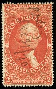 v29 U.S. Revenue Scott #R81d $2 Conveyance silk paper, 1870 manuscript cancel