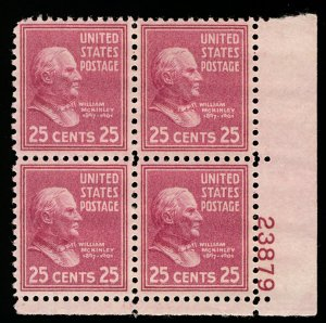 US #829 PLATE BLOCK, SUPERB mint never hinged, a select mint plate block,  WO...