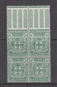 JAMAICA, 1906 Multiple CA, 1/2d. Green, marginal block of 4, mnh.