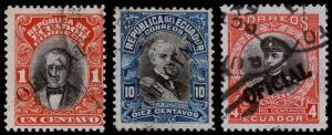 Ecuador Scott O107, O111, O131 (1913, 1916) Used H F-VF, CV $8.90 B