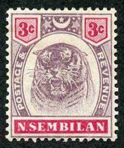 Negri Sembilan SG7 1895 3c Dull purple and carmine M/Mint (hinge remainders)