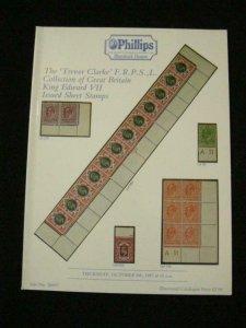 PHILLIPS AUCTION CATALOGUE 1987 EDWARD VII ISSUED SHEET STAMPS 'TREVOR CLARKE'
