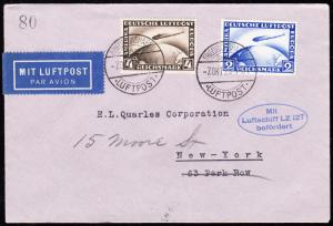 GERMANY #C36-37 ON ZEPPELIN LZ127 FLIGHT COVER GERMANY TO USA BT6143