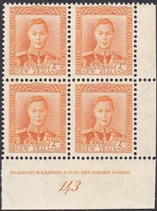 NEW ZEALAND GVI 2d plate block # 143 MNH....................................4130