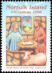 Norfolk Islands #610-613, Complete Set(4), 1996, Christmas, Never Hinged